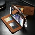 Ретро многофункциональный Бумажник чехол для iphone 6 флип чехол с слот для карты Женщины мужчины кошелек с застежкой-молнией для iphone 6 s/7 Случае мешок