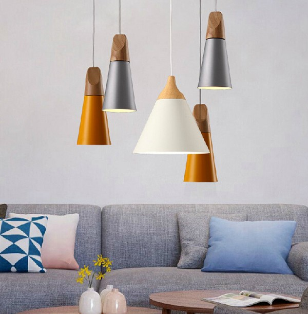 simple aluminium bois art droplight moderne led pendentif luminaires pour salon salle manger bar lampe suspendue clairage intrieur