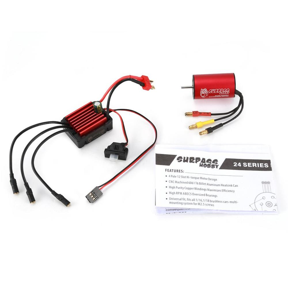 SURPASSHOBBY KK 2440 4000KV Brushless <font><b>Motor</b></font> with heat sink 35A Waterproof Speed Controler ESC for <font><b>2S</b></font> 1:16 1:18 RC Racing Car Mod image