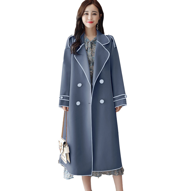 Trench   Coat for Women 2019 Spring Autumn New Women's Long Loose Double-Breasted Casual Slim Coat Female Windbreaker Large size