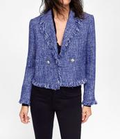 WISHBOP 2018 Autumn Fashion Woman Short TWEED BLAZER lapel collar Long sleeves frayed trims metal button appliques Front