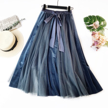 купить Fashion Pleated Skirt Female Casual Lace-Up women skirt Vintage Blue Patchwork Tutu Skirt Women High Waist Long Maxi Skirt по цене 1621.12 рублей