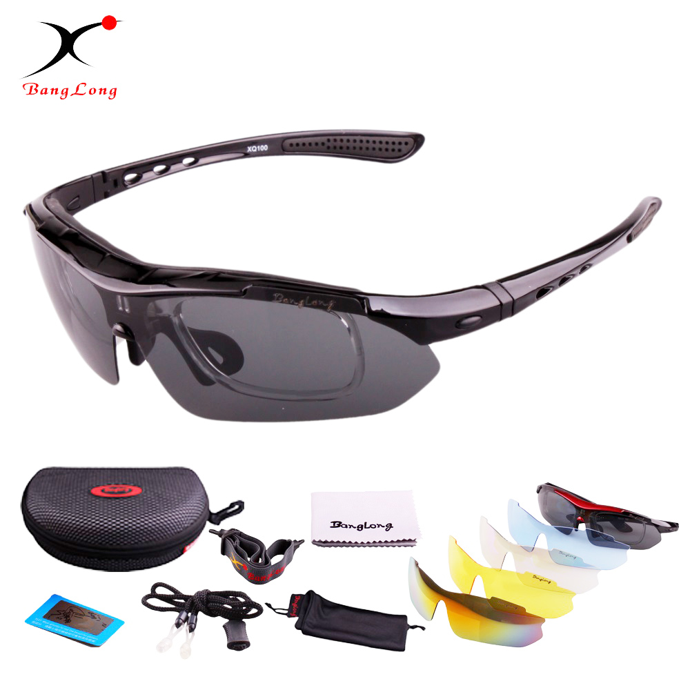 BangLong Mountaineering UV400 Sun glasses for men polarized PC frame with 5 lens interchangeable sport cycling sunglasses a26 plastic frame grey lens uv400 protection sunglasses black