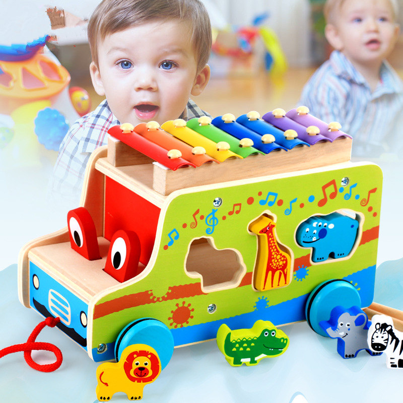 Cartoon Wooden Xylophone 8-Note Music Instrument Trailer Car Shape Animal Puzzle Block Toys children musical instrument Xilofone popular toys wooden hand knock piano octave cartoon animal small children musical instrument educational toys free shipping