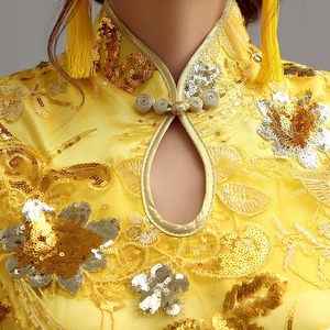 Image 3 - traditional chinese clothing for wedding cheongsam dress in sequin qipao women dresses chinese traditional dress custom yellow