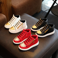 Fashion Unisex Boy Girls Sneakers Gold Color Round Toe Design Rivets Studded High Top Style Children