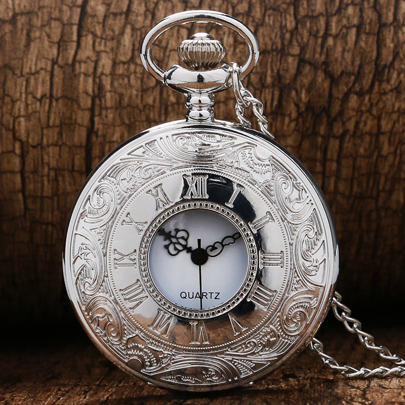 Exquisite Birthday Gift Popular Pocket Watch Silver Color Quartz Roman Numbers Watches with Necklace Pendant For Women Men Items unique smooth case pocket watch mechanical automatic watches with pendant chain necklace men women gift relogio de bolso
