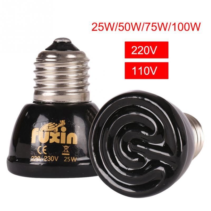 Hot 20w/50w /75w /100w E27 Mini Far-infrared Ceramic Pet Heating Lamp For Lizard Spider Reptile Pet Box Warmer Light Bulbs