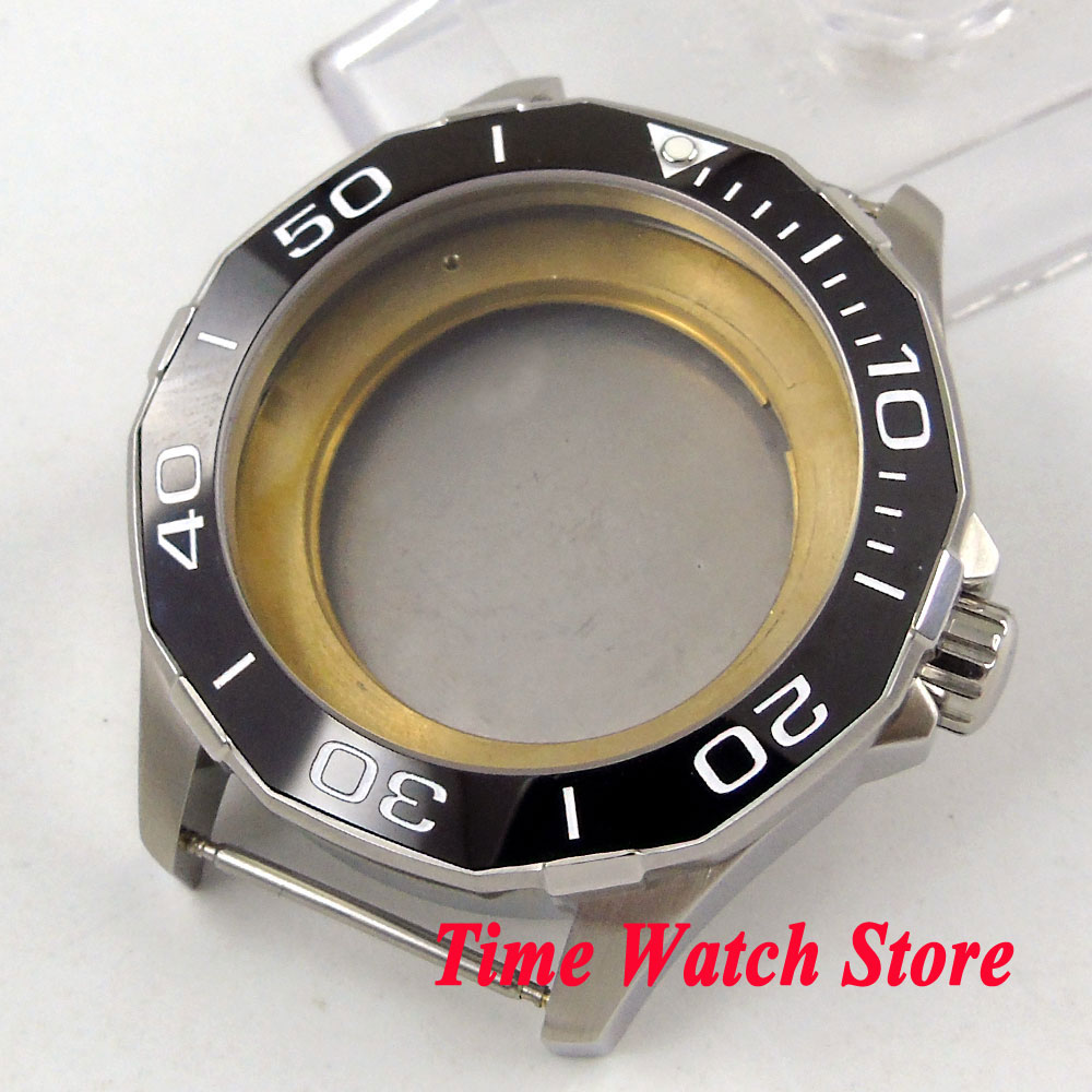 Polygonal 45mm 316L stianless steel watch case sapphire glass ceramic bezel fit for ETA 2836 MIYOTA 8215 821A movement C7 цена и фото