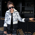 Nice Winter Jacket Women Hit Color Cotton Padded Coat Casual  Parkas For Women Printing Winter Manteau Femme 52112