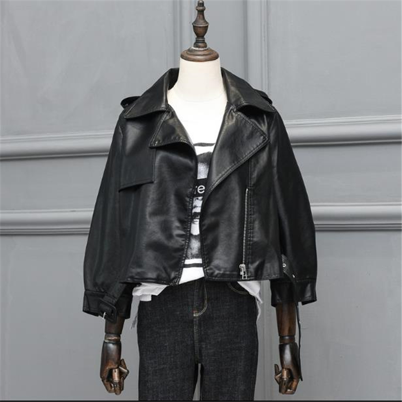 New Fashion Pu Biker For Women Mandarin Collar Zipper Casual Women Leather Moto Jacket Veste Women Autumn Coat Cuero Chaqueta