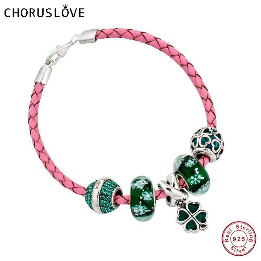 Choruslove Pink Braided Leather Lucky Bracelet with Four Leaf Clover Green Charms Beads for Birthday Gifts SJ2007 цена