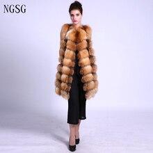 Fox Fur Vest Real Fur Coat Women Coat  Sexy Female Fox Vest  Clothe Length 90 CM  Length  Jacket Female 3XL Size Vest ER4020-7