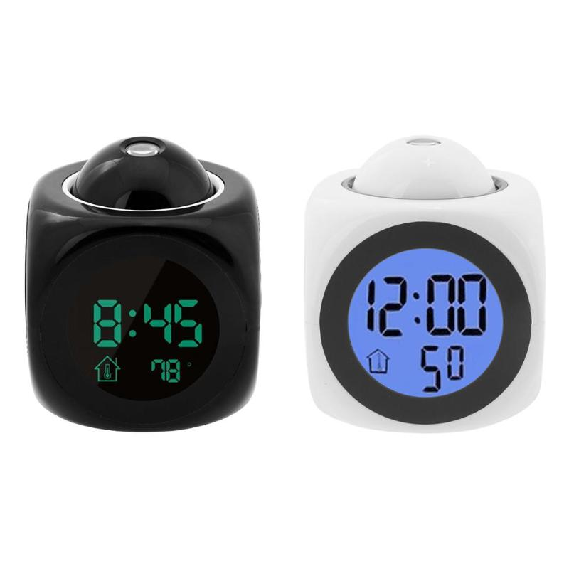 Digital LCD Display Colorful Voice Projection Alarm Clock with Temperature