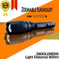 Free shipping E17 CREE SUPER XM-L T6 3800Lumens cree led Torch Aluminum Zoomable cree LED Flashlight Torch light For 2x18650