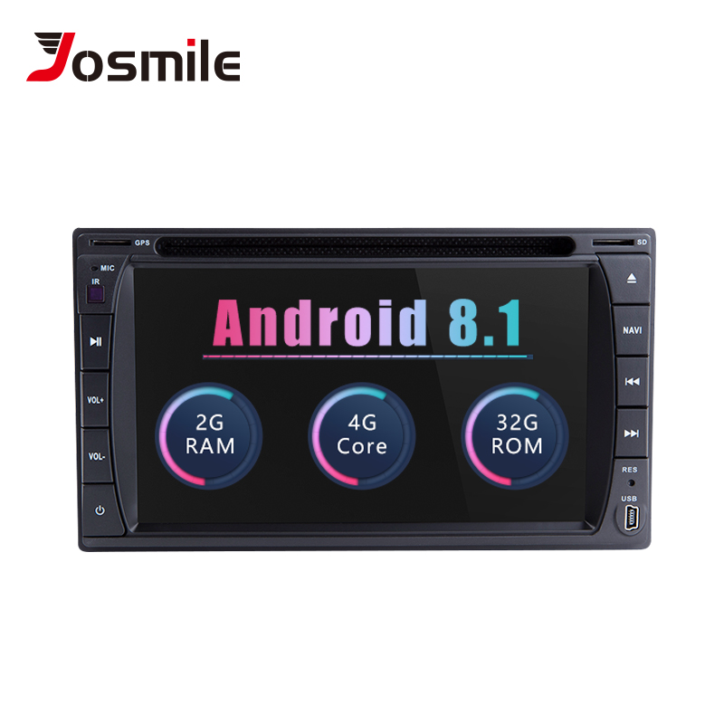 Josmile Universal 2 Din Android 8.1 Car Radio Car Multimedia Player DVD GPS Navigation Wifi Stereo Audio Head unit 173mm*98mm