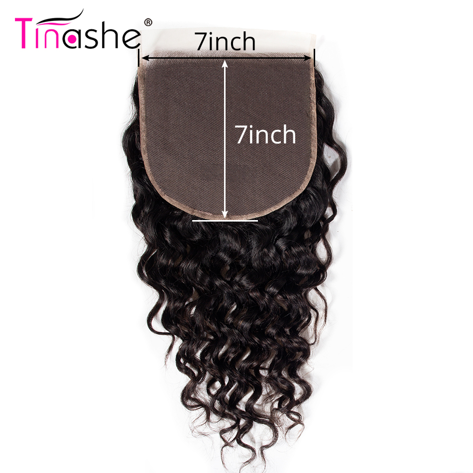 Tinashe Hair Water Wave 7x7 Lace Closure Remy Brazilian Human Hair 10- 20 Inch Natural Color Pre Plucked Swiss Lace Closure(China)
