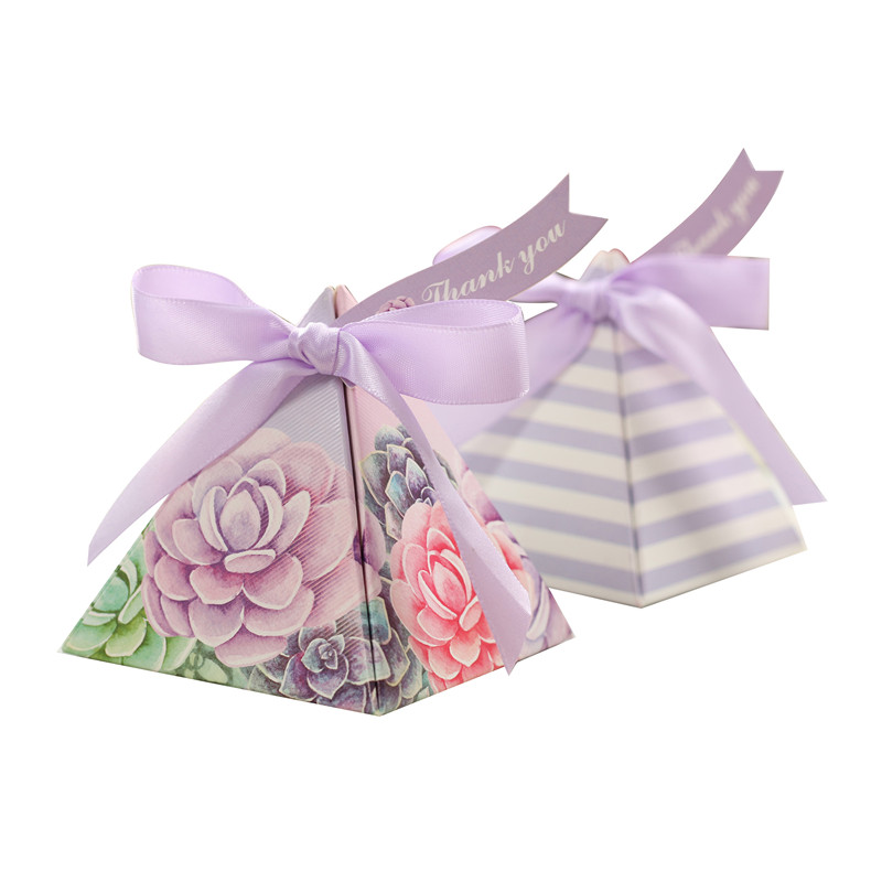 Purple Jewel Flower Candy Box 50pcs / lot high quality Triangle pastoral simple wedding gift box with ribbon