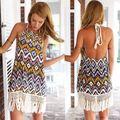 2016 Новый vestido де феста лето женщины винтаж геометрическая печатный платье кисточкой женщина пляж туники femininos robe femme