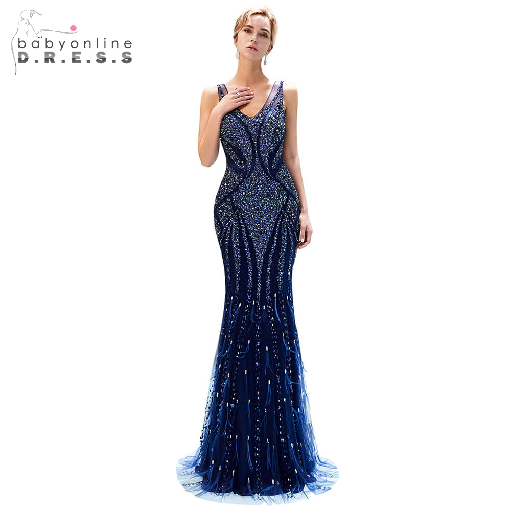 Navy Blue   Prom     Dresses   Long 2019 Elegant Beaded Crystals V-Neck   Prom   Gowns Custom Make Size Floor-Length Formal Party   Dress