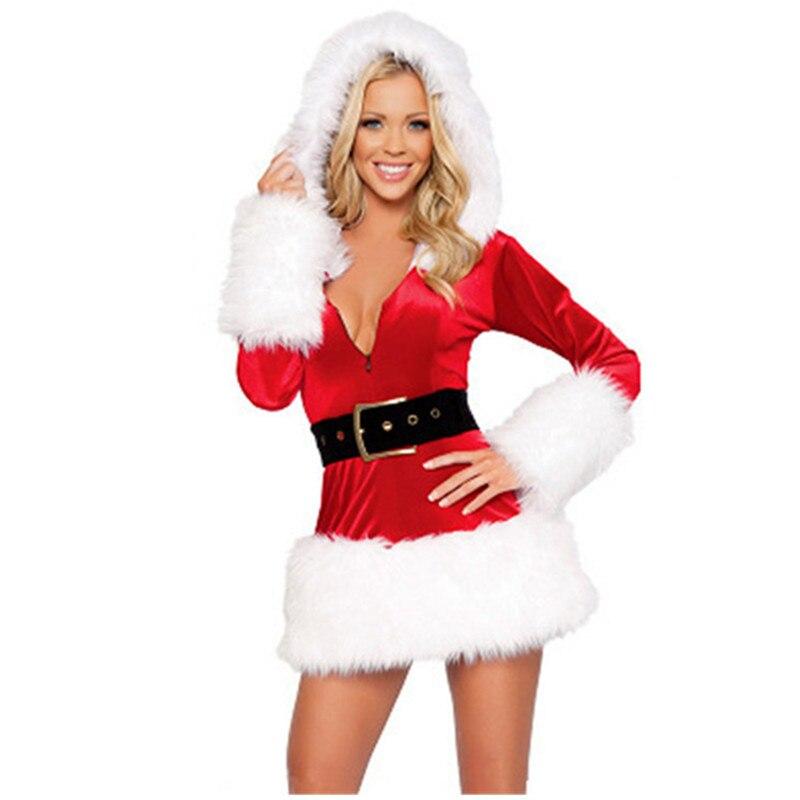 1644 25 De Descuentoalta Calidad Rojo Negro Sexy Señoras Terciopelo Vestido Santa Disfraz Adulto Señora Santa Claus Traje Para Mujeres Con