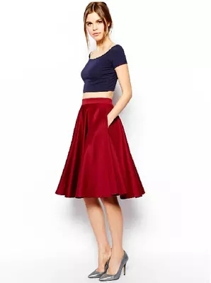 High-end new arrivals fashion women's clothing women vintage red high waist umbrella skirt