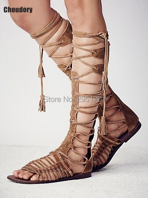 Chaussures Haute Picture En Genou The Bout Cravate Ouvert as Picture Daim As Gladiateur Bottes Zip À Sandales 2019 Femmes Plat Sandalias Mujer Mode Croix 8X0NnwOPk