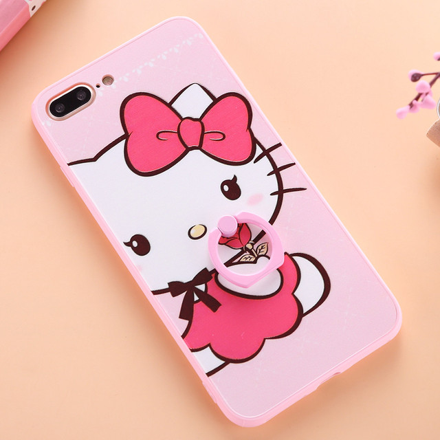 b73d4e202 Cute Hello kitty Print Case for iphone 6 6s plus 7 7plus Housing Back Cover  with Phone Finger Ring holder Capa Coque