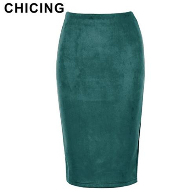 5b3541320cad2 CHICING Women Fashion Suede 14 Colors Pencil Midi Skirts High Waist ...