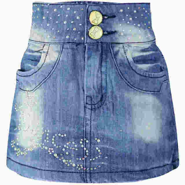 5-8Y Girls Blue rhinestone Pearl Denim Children Rosette buttons Zipper Mini Skinny Wrap Skirts LL3110