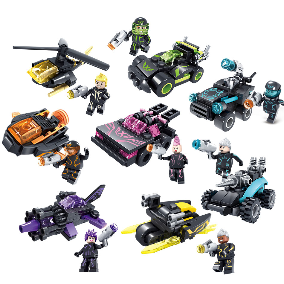 Kazi 8sets/lot City Future Swat Police Building blocks Bricks Figures with Weapon Compatible Legoe Army Gift Toys for children