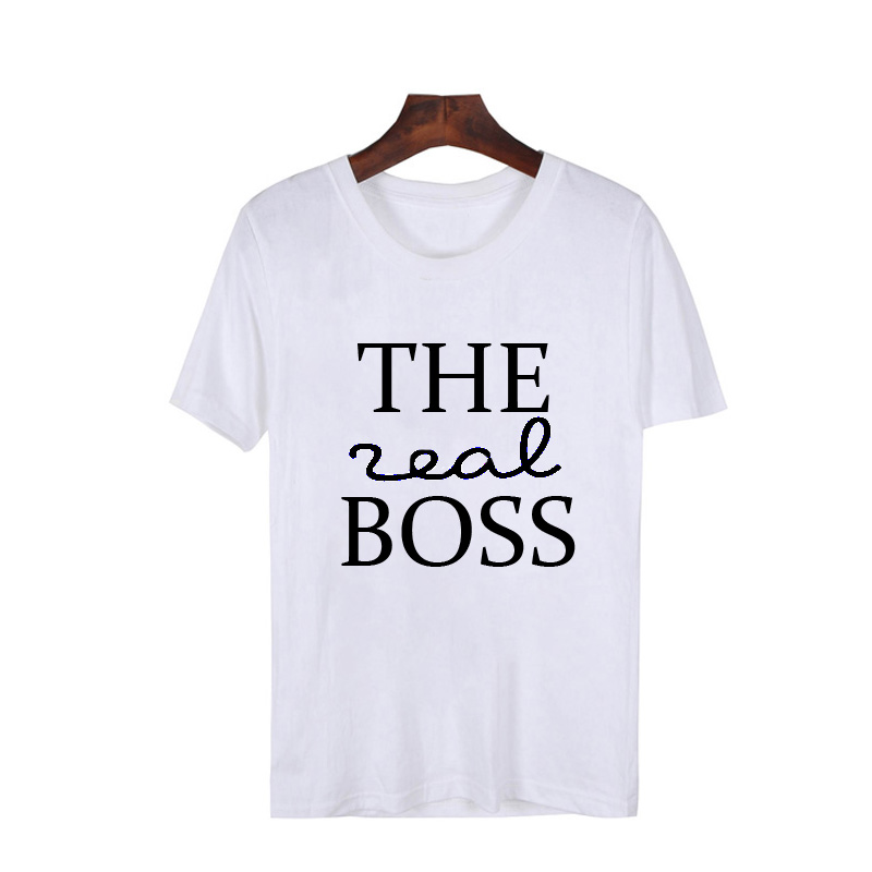 Funny Couple Matching T Shirt Men Women The Boss The Real Boss T-Shirts Unisex Husband And Wife Couples Outfit Weddingd Gifts