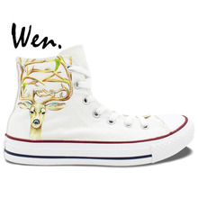 Wen Original Design Custom Hand Painted Shoes Milu Deer White High Top Men Women's Canvas Sneakers Christmas Gifts