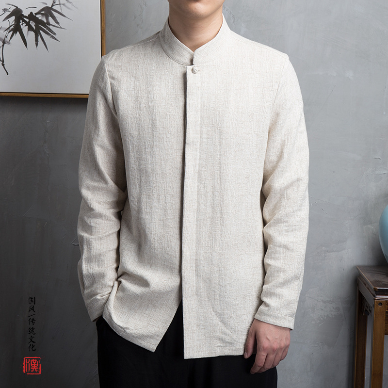 2020 NEW Chinese Style Kimono Men Shirt Long Sleeve Casual Streetwear Men Shirt Man Linen Kimono Shirt Men Clothes