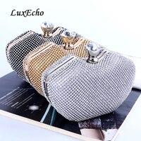 LuxEcho HANDBAGS Rhinestone handbags single Chain Bride wedding purse Fashion party evening bags Day clutches Golden/silver