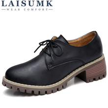 LAISUMK Women Oxford Shoes Med Heel Leather Laces Round Toe Ladies Low Top Spring Shoes Women Casual Footwear 2019 New Autumn women s velvet med heel comforable mary jane pumps brand designer round toe spring new female cute footwear shoes for women sale