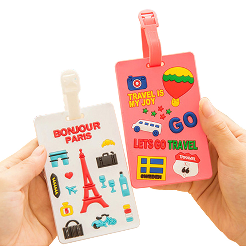 Travel accessories suitcase luggage tags Cute cartoon luggage label Silicon plastic suitcase ID address holder Bus card coverTravel accessories suitcase luggage tags Cute cartoon luggage label Silicon plastic suitcase ID address holder Bus card cover