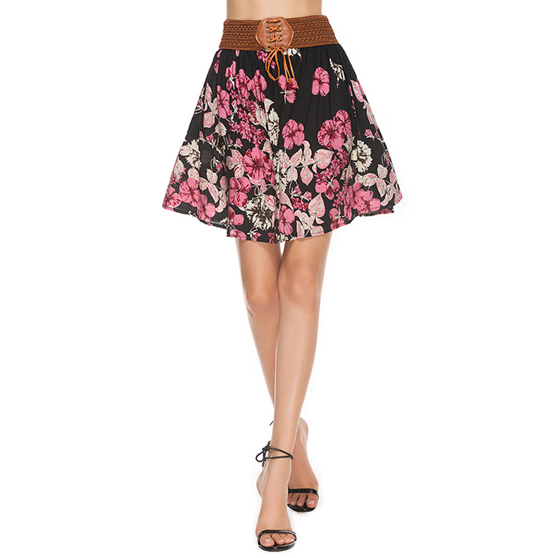2019 Summer New Fashion Women's Mini Skirts Chiffon Casual A-Line Broken Flowers Printed Elastic Waist Half-length Skirts Price $21.99