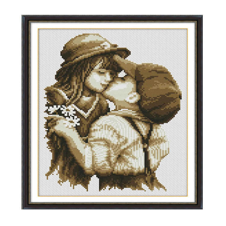 Needlework,DIY DMC Cross stitch,Sets For Embroidery kits,Precise Printed first kiss Patterns Counted Cross-Stitching
