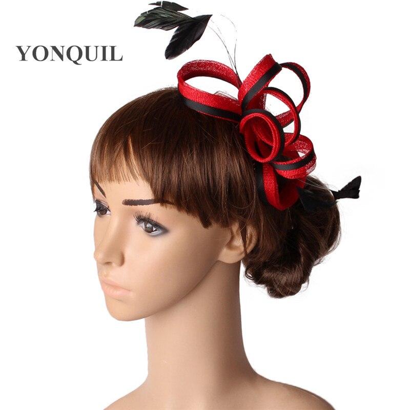 Белый и черный шляпки из соломки синамей с вуалеткой хорошее Свадебные шляпы высокого качества для женщин коктейльное шапки очень хорошее MYQ123 - Цвет: Красный