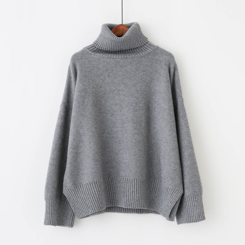 2018 Thick High Neck Sweater Women Winter Solid Warm Pullovers Side Loose Jumper Female Turtleneck Sweater 2U4
