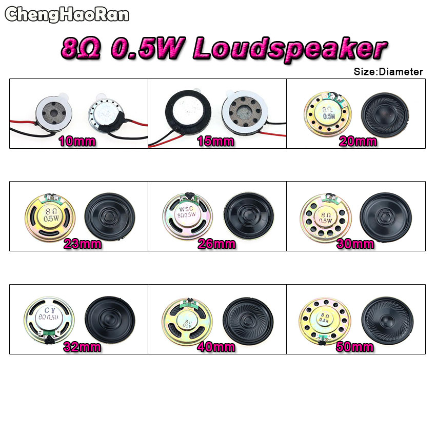 ChengHaoRan 8 Ohm 0.5W Horn Speaker 10mm 15mm 20 23 26 30 32 40mm 50MM Diameter 8R 0.5W Small Loudspeaker Wholesale Electronic