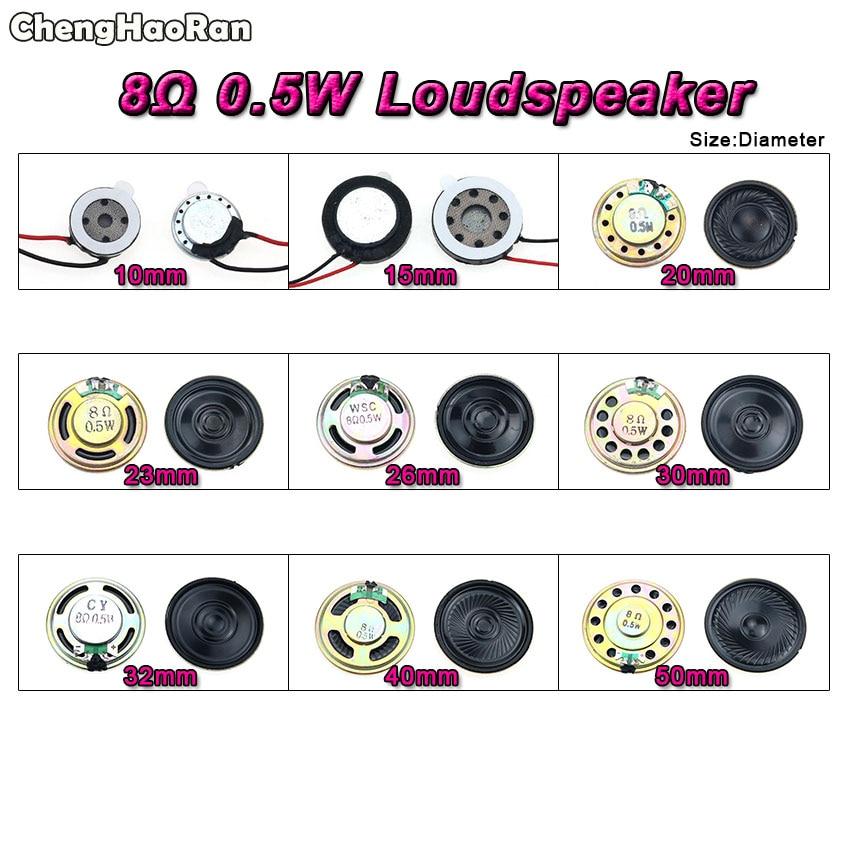 ChengHaoRan 8 Ohm 0.5W Horn Speaker 10mm 15mm 20 23 26 30 32 40mm 50MM Diameter 8R 0.5W Small Loudspeaker Wholesale Electronic