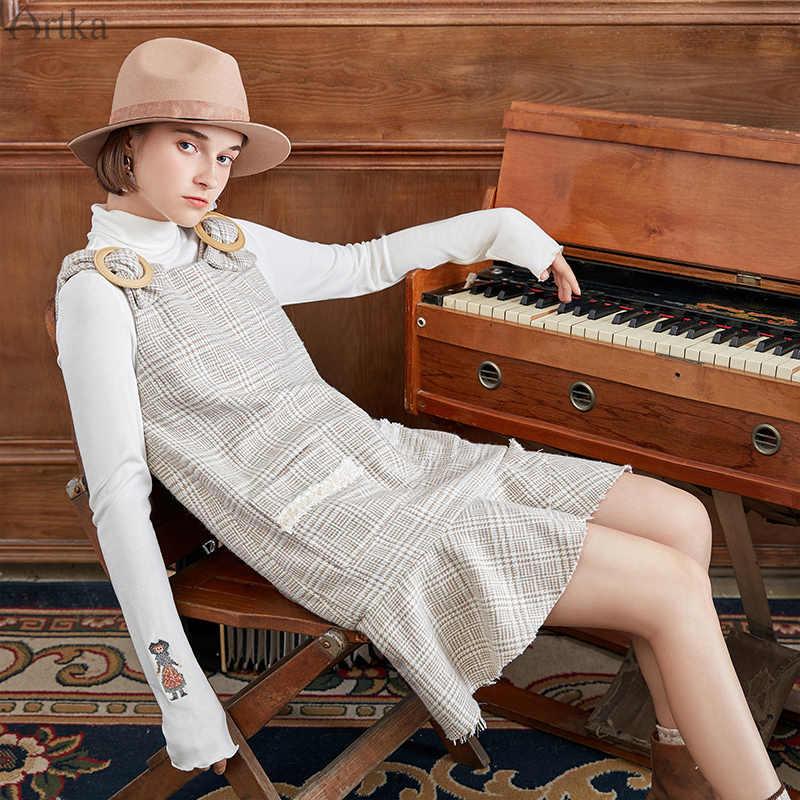 ARTKA 2019 новое осенне-зимнее женское платье, клетчатое плотное платье с карманом, гофрированное дизайнерское платье, шерстяное платье на бретелях, LA10088D