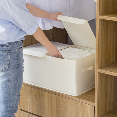 Linen Box Organizer Folding-Box Bins Storage Double-Cover Minimalist For Toys