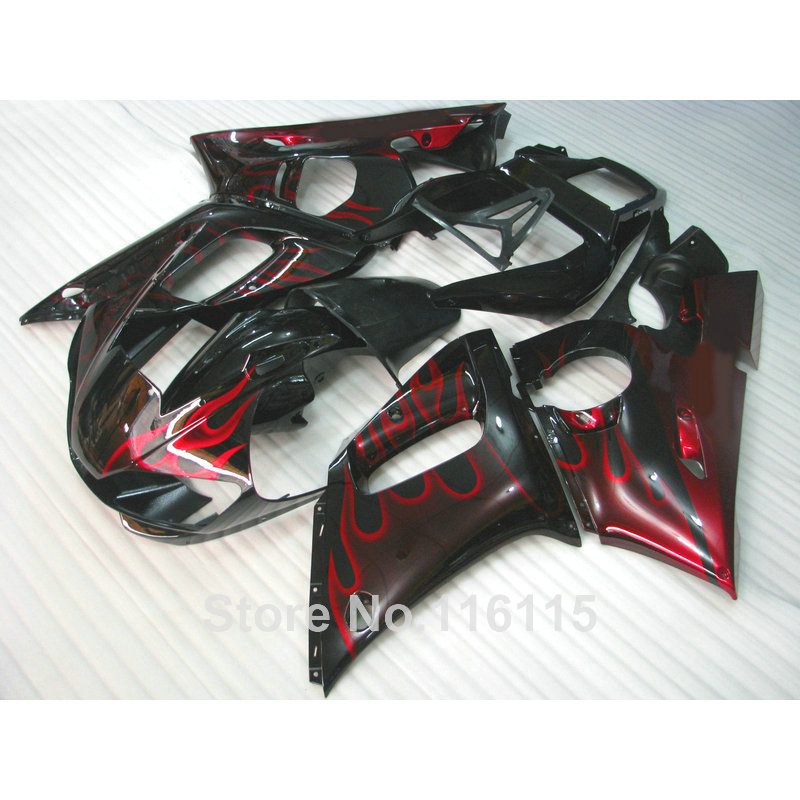 High quality ABS fairing kit for YAMAHA R6 1998 1999 2000 2001 2002 YZF-R6 YZF R6 98-02 red flames in black fairings set NX12