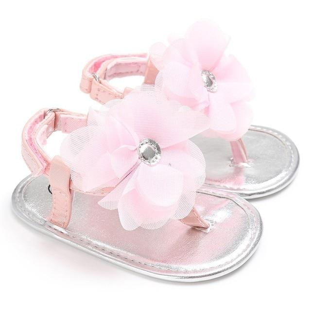 Chaussures de fleurs Sandales en ruban pour bebe fille (Rouge rose) PML0yv