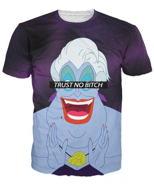 Women Men Fashion Trust No Bitch Ursula T-Shirt Little Mermaid Ariel the cruelest bitch ursula 3d Print Summer t shirt tee tops