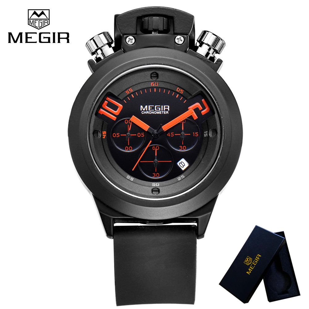 цены  MEGIR Top Luxury Brand Mens Watch Chronograph Clocks Military Army Sport Clock Rubber Strap Quartz Men Male Watches Gift 2004
