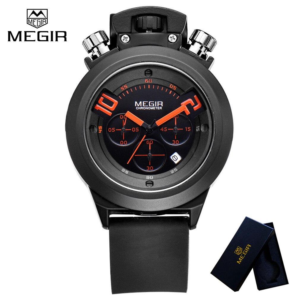 цены  MEGIR Top Luxury Brand Mens Watch Chronograph Clocks Military Army Sport Clock Rubber Strap Quartz Men Male Watches Gift 2004